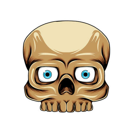 The illustration of the square skull head with the blue lens with the brown skin