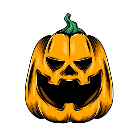 The illustration of the monster yellow pumpkin with the big laugh and the triangle nose