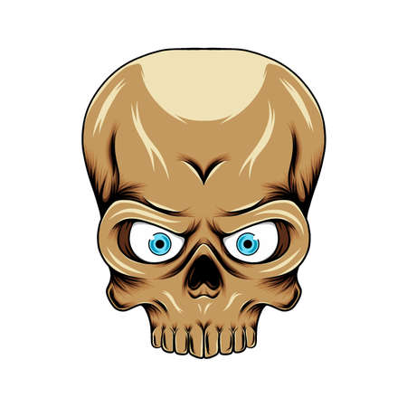 The illustration of the big skull head with the big forehead and big eyes for the draw inspiration
