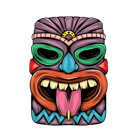 The illustration of the statue characteristic of tiki island with the tongue out and purple colour
