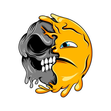 The Illustration of A scary face expression to the scary dark skull emoticon