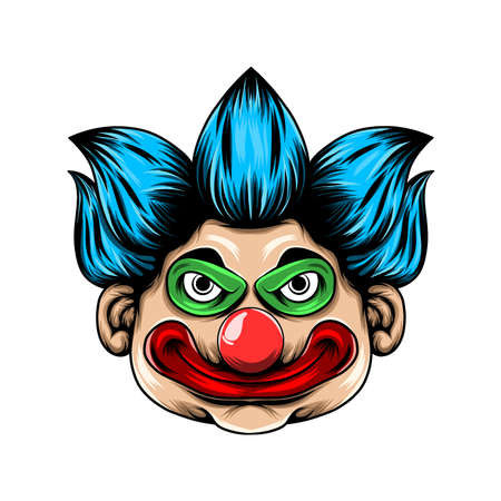The Illustration of The scary clown head with the big red lip and big eyes