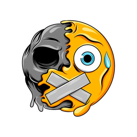 The Illustration of A sweat drop face expression with closed mouth changes to dark scary skull emoticon Иллюстрация