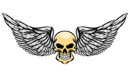 The illustration of the scary human skull without eyes and the long wings Stock Illustratie