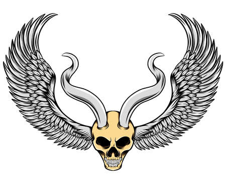 The illustration of the evil skull with the metal horns and the wings