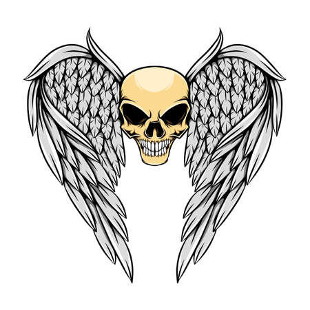 The hand draw of the human skull with the wings flying design of illustration