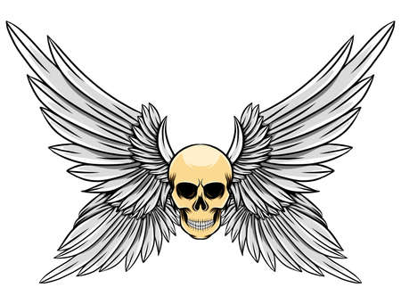 The illustration of the dead skull with the four wings up