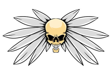 The feather wings with the creepy human head skull for the tattoo inspiration of illustration