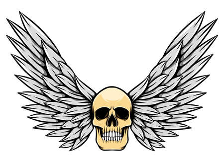 The danger dead skull with the wing for the tattoo inspiration of illustration