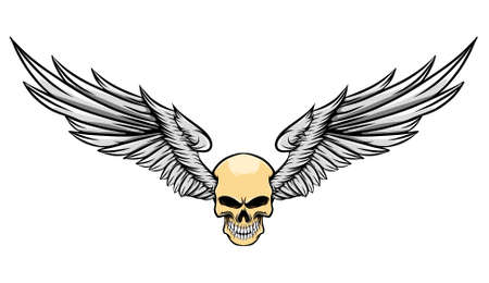 The illustration of the danger human skull with the long feather wings Stock Illustratie