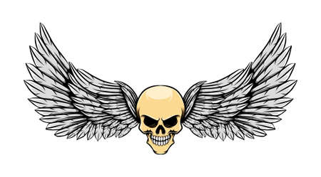 The tattoo illustration of the glossy dead skull with wings Stock Illustratie