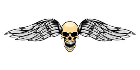 The hand draw of the dead skull with wings is laughing of illustration Stock Illustratie