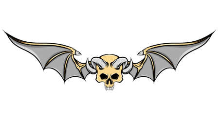 The dead skull with the goat horns and the iron bat wings of illustration