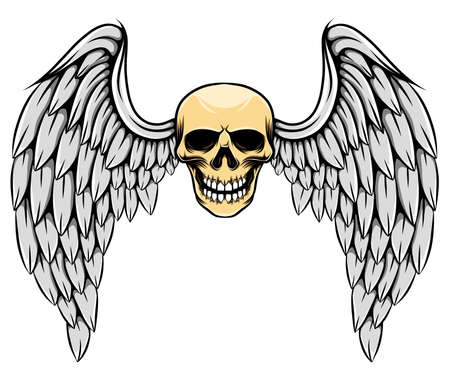 The gothic illustration of the dead skull with the big feather wings Stock Illustratie