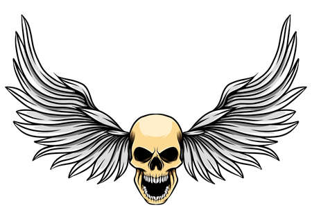 The dashing wings with the human dead skull for the tattoo inspiration of illustration