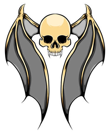 The illustration of the monster skull with the the golden bat's wings