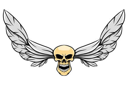 The beautiful feather wings with the thin human head skull of illustration