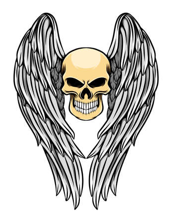The tattoo inspiration of the dead skull with the long angle wings of illustration