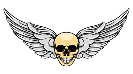 The short angle wings with the unique human dead skull of illustration