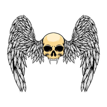 The hand draw of the dead skull human with the sharp fangs and wings of illustration Ilustración de vector