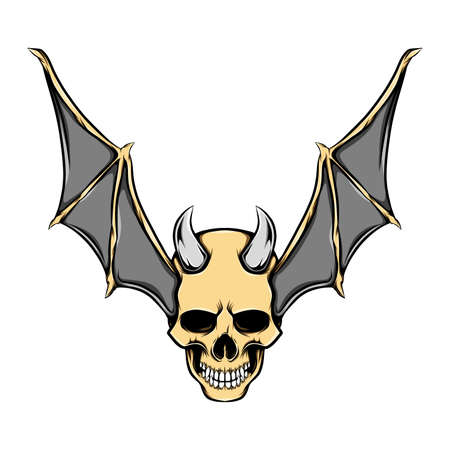 The evil head skull with the iron horns and golden bat wings of illustration