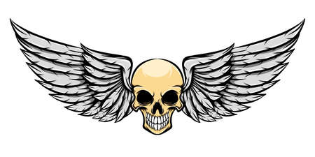 The logo inspiration of the dead human skull with the wings of illustration