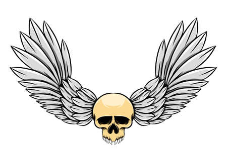 The hand draw of the feather wings and skull with the sharp teeth of illustration