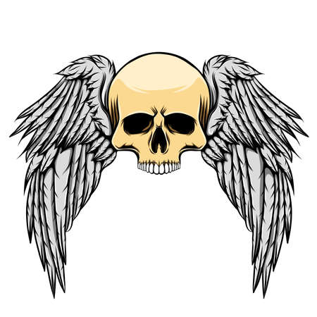 The tattoo inspiration of the scary dead skull with the big wings of illustration