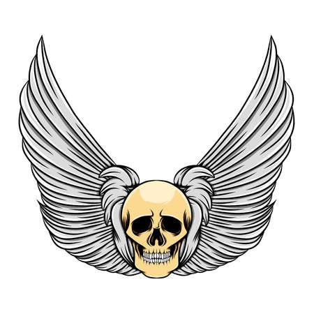 The beautiful feather wings with the vintage dead skull of illustration Stock Illustratie