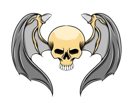 The head skull with the sharp teeth and the metal wings with the horns of illustration