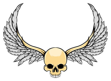 The illustration of the ghost skull with the long wings and a big horns