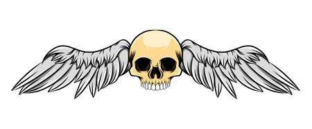 The illustration of the dashing dead skull with the holed eyes and wings