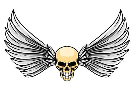 The tattoo inspiration of the human dead skull with the long wings of illustration