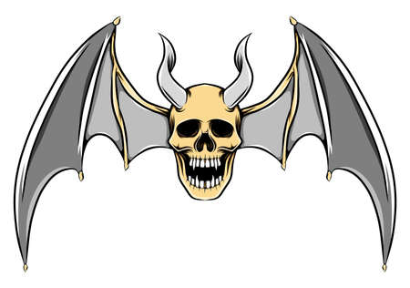 The scary illustration of dead skull with the long horns and the bat wings Stock Illustratie