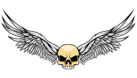 The hand drawn of the big eagle wings in the glossy human skull of illustration Stock Illustratie