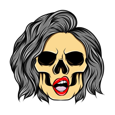 The art work of the girl skull with the hole eyes and flipped under ends hair style of illustration Vetores