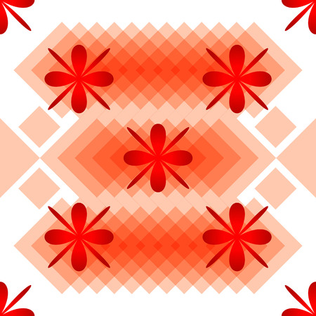 Vector illustration pattern flowers and rhombs