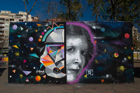 BARCELONA, SPAIN - JANUARY, 12, 2016: A piece of Graffiti in Barcelona on a concrete wall portraying the character Princess Leia and Darth Vader from the Star Wars franchise Sajtókép
