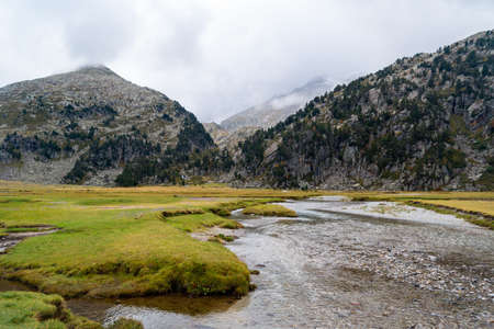 Esera river in the Aigualluts planes in the Benasque valley in the Aragonese Pyrenees.