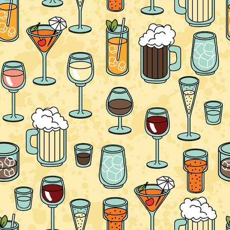 champagne orange: Seamless vector pattern background with alcohol cocktail, martini, margarita, tequila, vodka Illustration