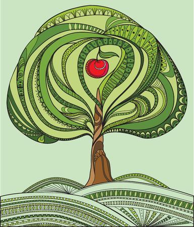 albero da frutto: Illustrazione vettoriale con albero verde e mela rossa