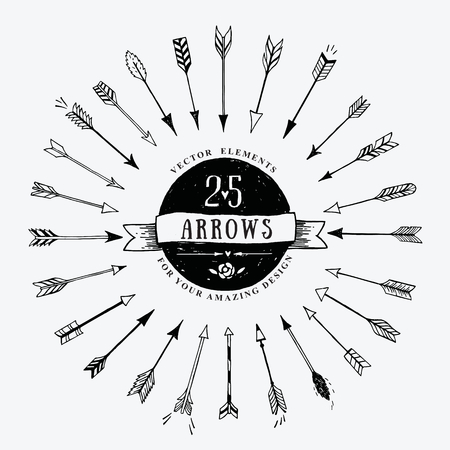 Vector vintage decorative arrows set. Hand drawn vector design elements