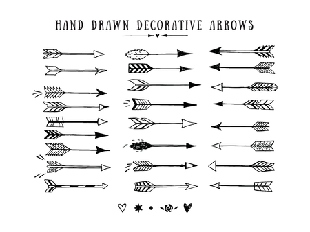 bow: Vector vintage decorative arrows set. Hand drawn vector design elements
