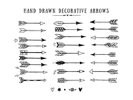 Zestaw wektora rocznika strzałki dekoracyjne. Ręcznie rysowane elementy konstrukcji wektora