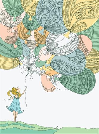 カラフルな風船の女の子
