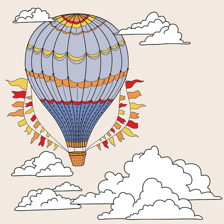 air balloon: Cute banner with hot air balloons, clouds and place for your text