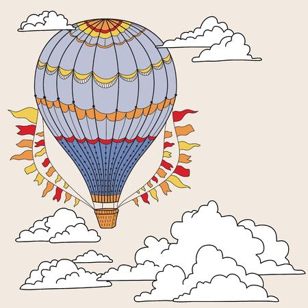 bandera linda con los globos de aire caliente, las nubes y el lugar de su texto