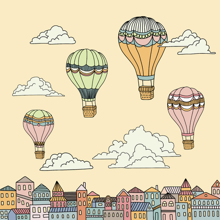 air travel: Cute banner with hot air balloons, houses and clouds Illustration