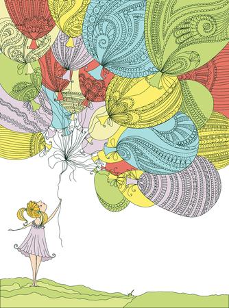 persona feliz: Muchacha con los globos coloridos