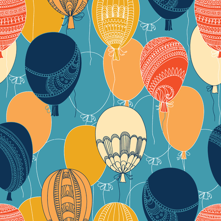 vector seamless abstract pattern, flying colorful balloons